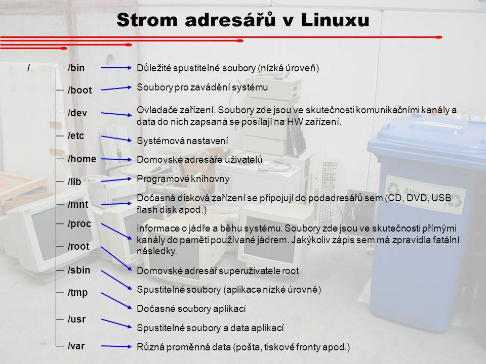 Strom adresářů v Linuxu //bin /boot /dev /etc /home /lib /mnt /proc /root /sbin /tmp /usr /var Důležité spustitelné soubory (nízká úroveň) Soubory pro