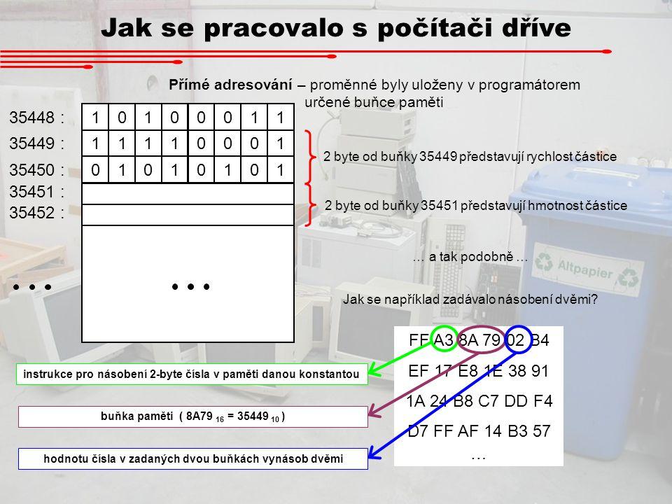 Jak se pracovalo s počítači dříve 10100011 11110001 01010101 35448 : 35449 : 35450 : 35451 : 35452 : Přímé adresování – proměnné byly uloženy v progra