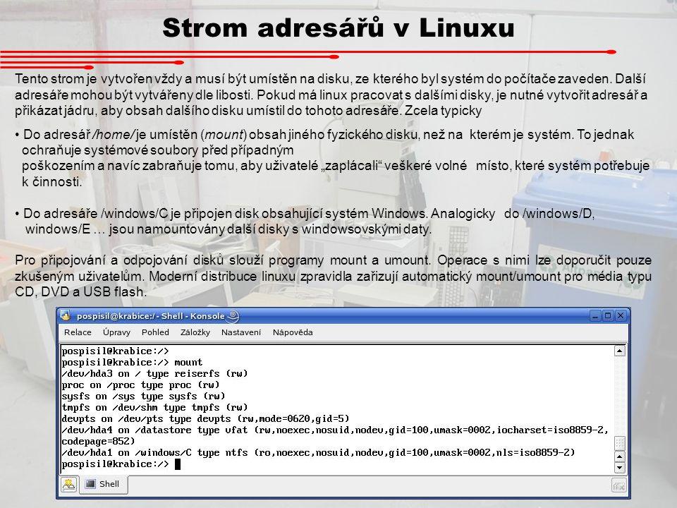 Strom adresářů v Linuxu Tento strom je vytvořen vždy a musí být umístěn na disku, ze kterého byl systém do počítače zaveden. Další adresáře mohou být