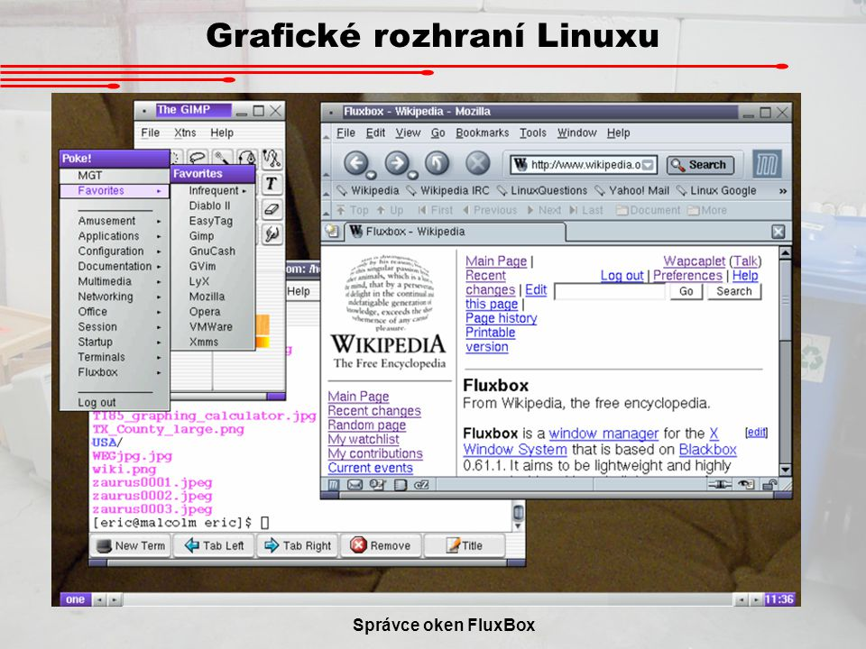 Grafické rozhraní Linuxu Správce oken FluxBox