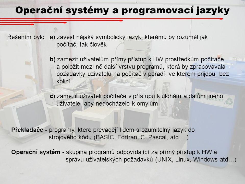 Operační systémy a programovací jazyky Řešením bylo a) zavést nějaký symbolický jazyk, kterému by rozuměl jak počítač, tak člověk b) zamezit uživatelů
