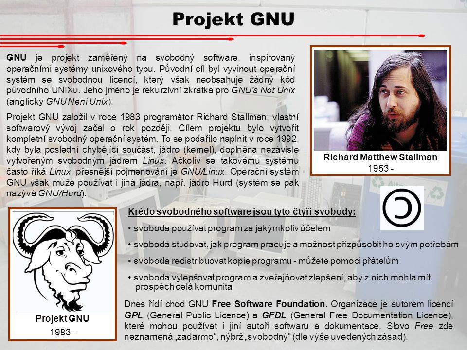 Projekt GNU Richard Matthew Stallman 1953 - Projekt GNU 1983 - GNU je projekt zaměřený na svobodný software, inspirovaný operačními systémy unixového