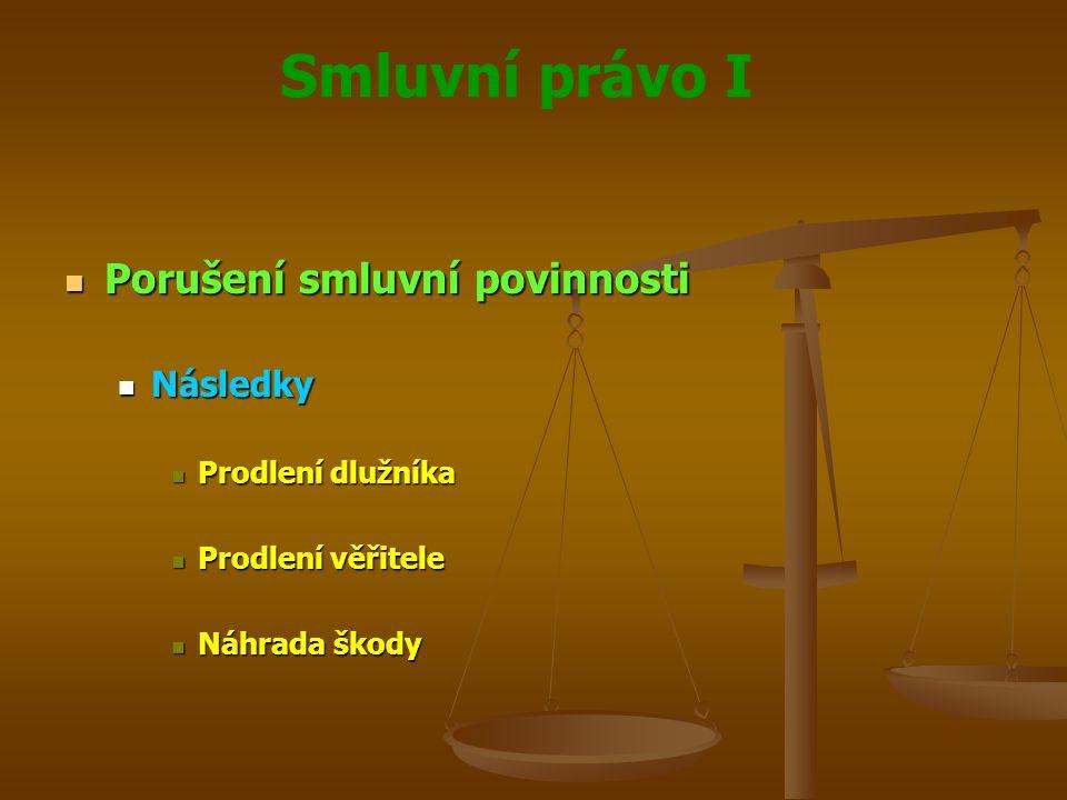 Smluvní právo I Porušení smluvní povinnosti Porušení smluvní povinnosti Následky Následky Prodlení dlužníka Prodlení dlužníka Prodlení věřitele Prodle
