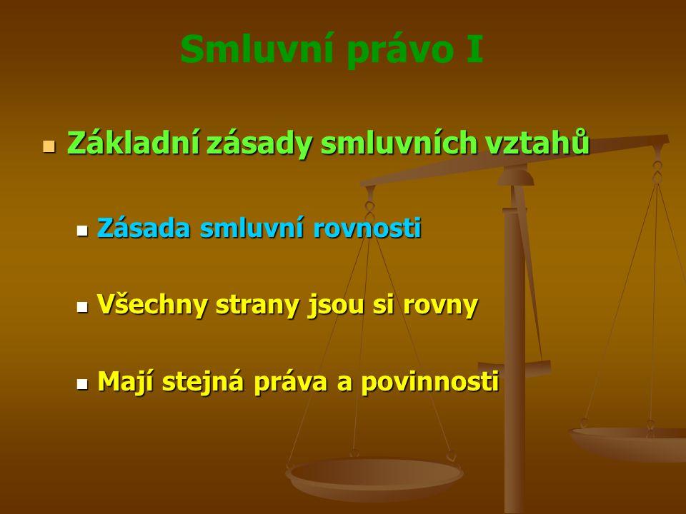 Smluvní právo I Základní zásady smluvních vztahů Základní zásady smluvních vztahů Zásada smluvní rovnosti Zásada smluvní rovnosti Všechny strany jsou