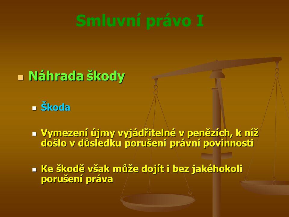 Smluvní právo I Náhrada škody Náhrada škody Škoda Škoda Vymezení újmy vyjádřitelné v penězích, k níž došlo v důsledku porušení právní povinnosti Vymez