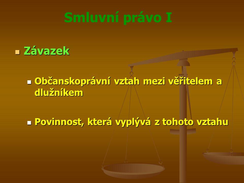 Smluvní právo I Závazek Závazek Občanskoprávní vztah mezi věřitelem a dlužníkem Občanskoprávní vztah mezi věřitelem a dlužníkem Povinnost, která vyplývá z tohoto vztahu Povinnost, která vyplývá z tohoto vztahu