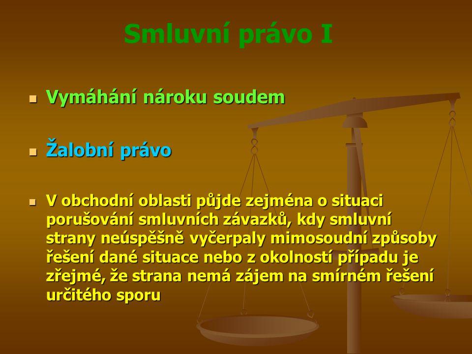 Smluvní právo I Vymáhání nároku soudem Vymáhání nároku soudem Žalobní právo Žalobní právo V obchodní oblasti půjde zejména o situaci porušování smluvn