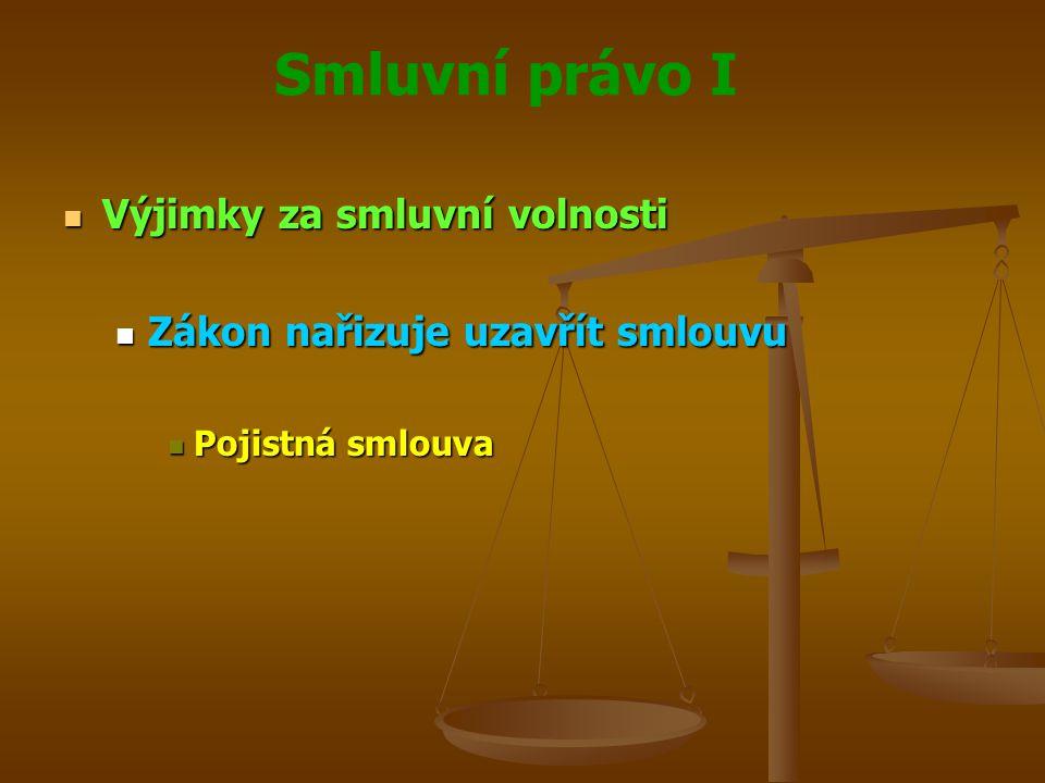 Smluvní právo I Výjimky za smluvní volnosti Výjimky za smluvní volnosti Zákon nařizuje uzavřít smlouvu Zákon nařizuje uzavřít smlouvu Pojistná smlouva Pojistná smlouva