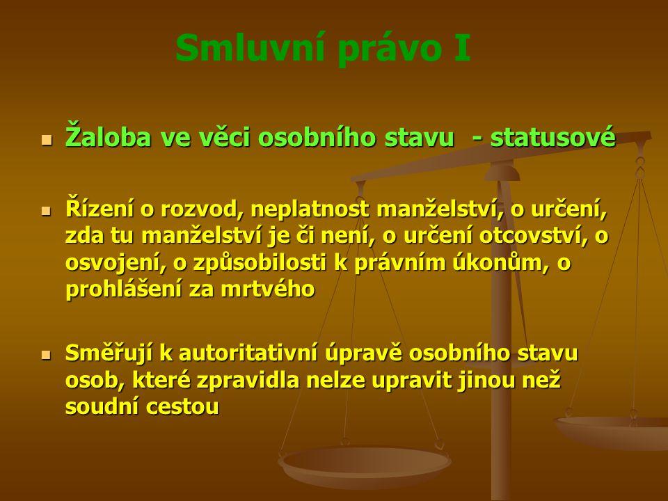 Smluvní právo I Žaloba ve věci osobního stavu - statusové Žaloba ve věci osobního stavu - statusové Řízení o rozvod, neplatnost manželství, o určení,