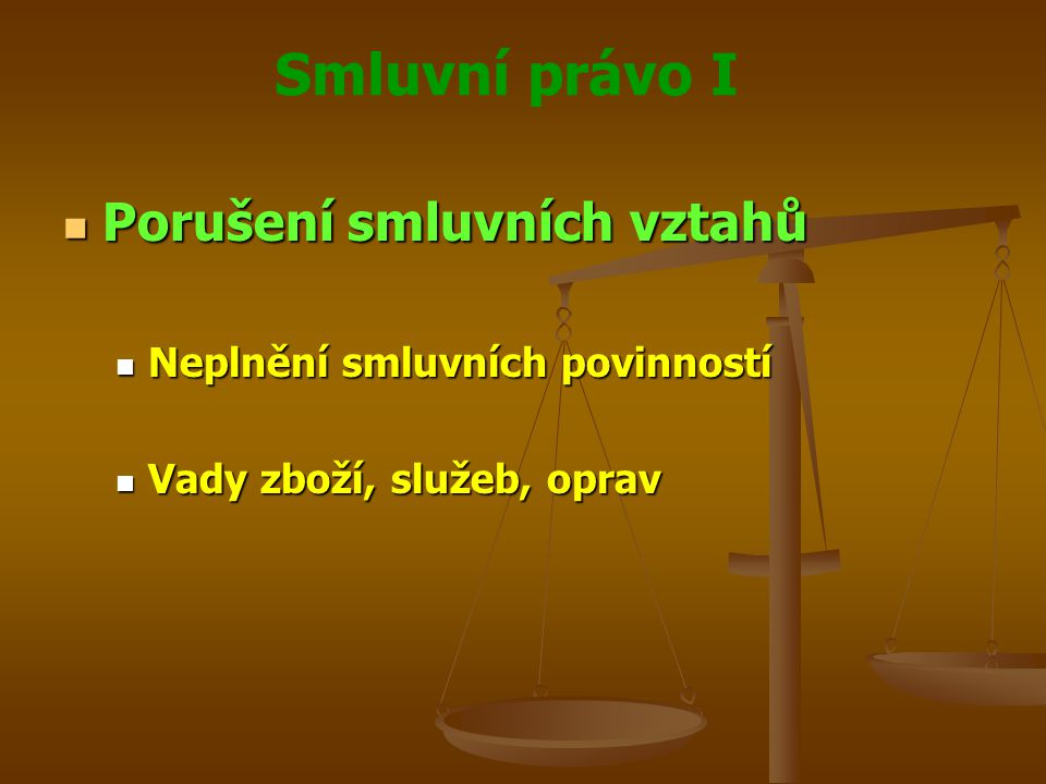 Smluvní právo I Porušení smluvních vztahů Porušení smluvních vztahů Neplnění smluvních povinností Neplnění smluvních povinností Vady zboží, služeb, op