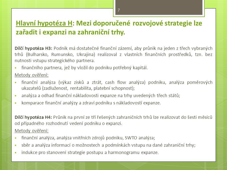 7 Dílčí hypotéza H3: Podnik má dostatečné finanční zázemí, aby průnik na jeden z třech vybraných trhů (Bulharsko, Rumunsko, Ukrajina) realizoval z vlastních finančních prostředků, tzn.