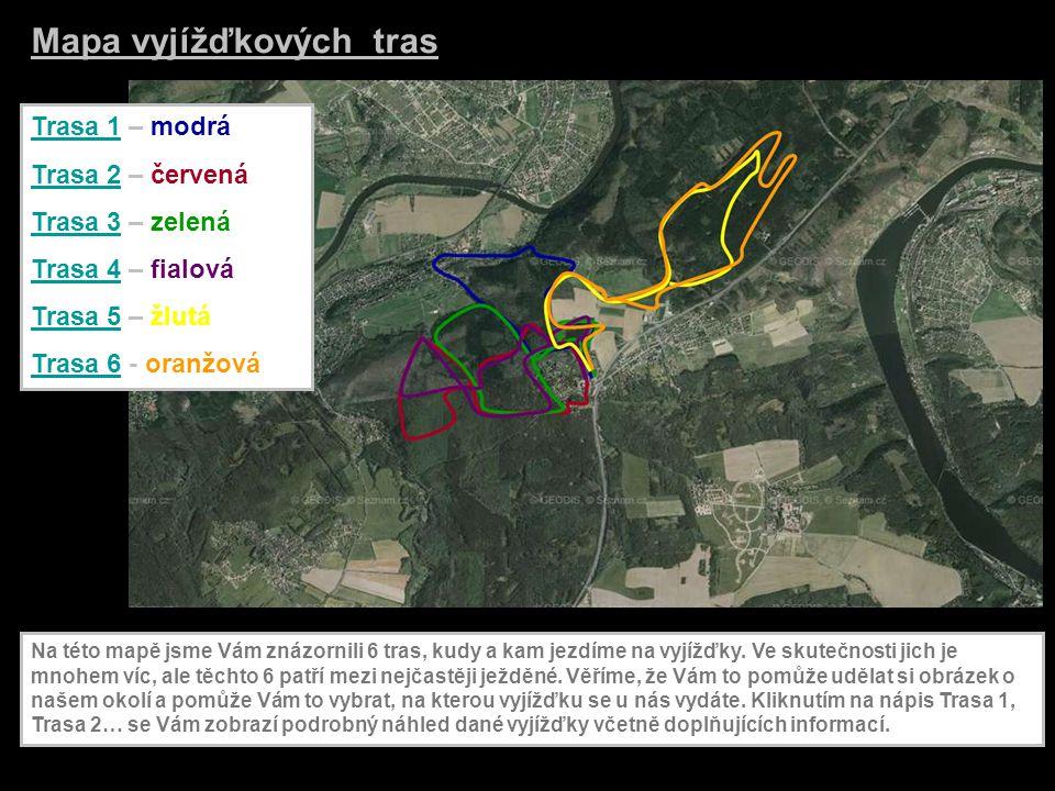 Trasa 1Trasa 1 – modrá Trasa 2Trasa 2 – červená Trasa 3Trasa 3 – zelená Trasa 4Trasa 4 – fialová Trasa 5Trasa 5 – žlutá Trasa 6Trasa 6 - oranžová Mapa vyjížďkových tras Na této mapě jsme Vám znázornili 6 tras, kudy a kam jezdíme na vyjížďky.