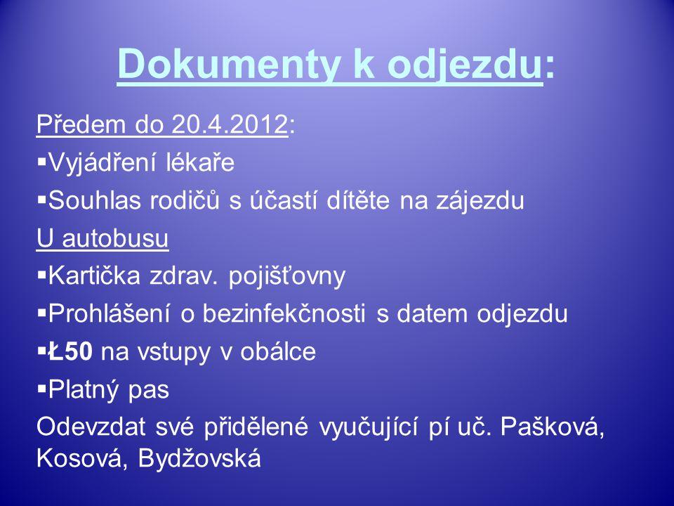 Dokumenty k odjezdu: Předem do 20.4.2012:  Vyjádření lékaře  Souhlas rodičů s účastí dítěte na zájezdu U autobusu  Kartička zdrav.