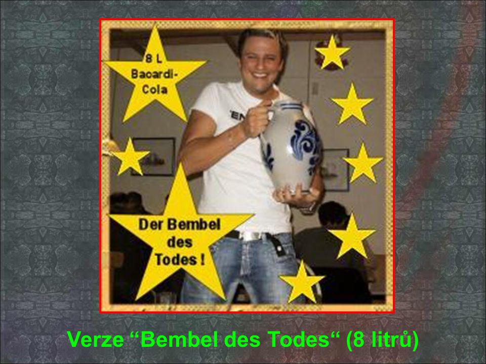 """Naše specialitka """"Bembel des Grauens"""" Baccardi & Coca Cola podáváme ve 4 litrovém balení"""