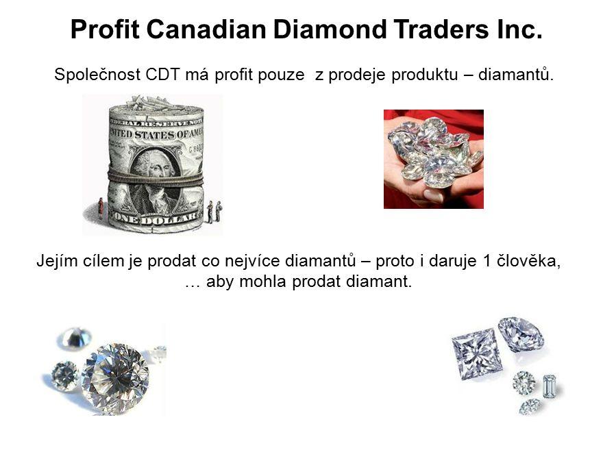 Profit Canadian Diamond Traders Inc. Společnost CDT má profit pouze z prodeje produktu – diamantů.