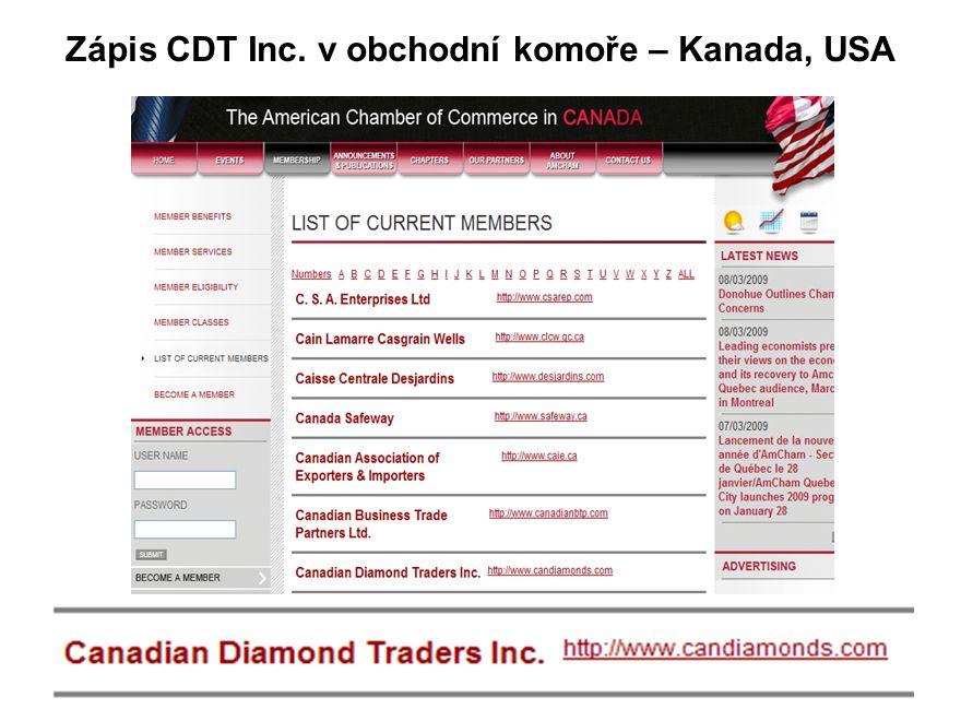Zápis CDT Inc. v obchodní komoře – Kanada, USA