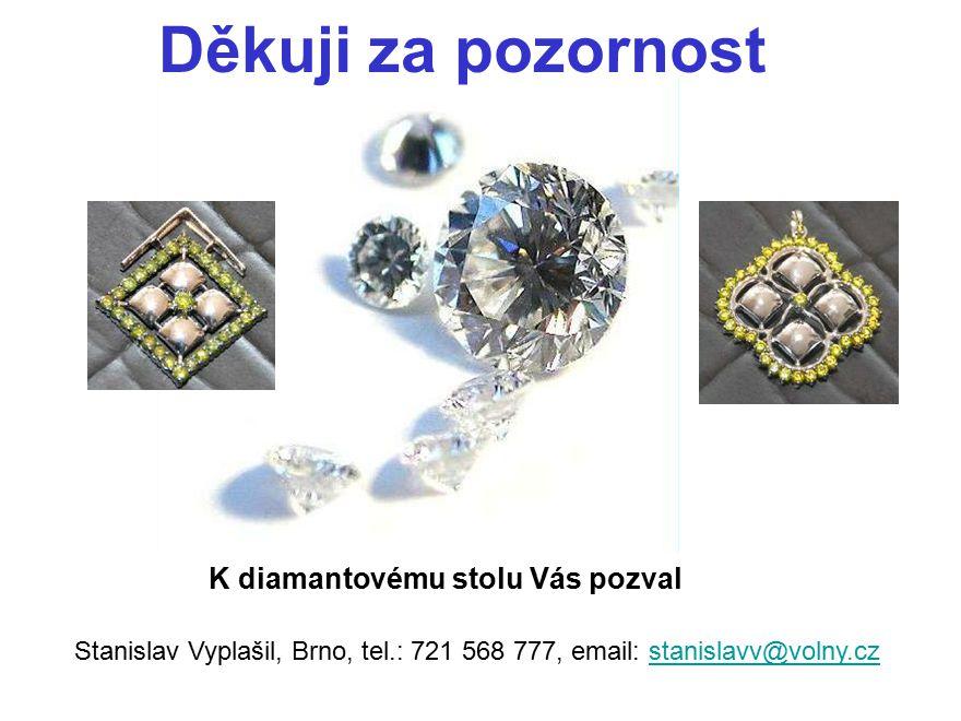 Děkuji za pozornost K diamantovému stolu Vás pozval Stanislav Vyplašil, Brno, tel.: 721 568 777, email: stanislavv@volny.czstanislavv@volny.cz
