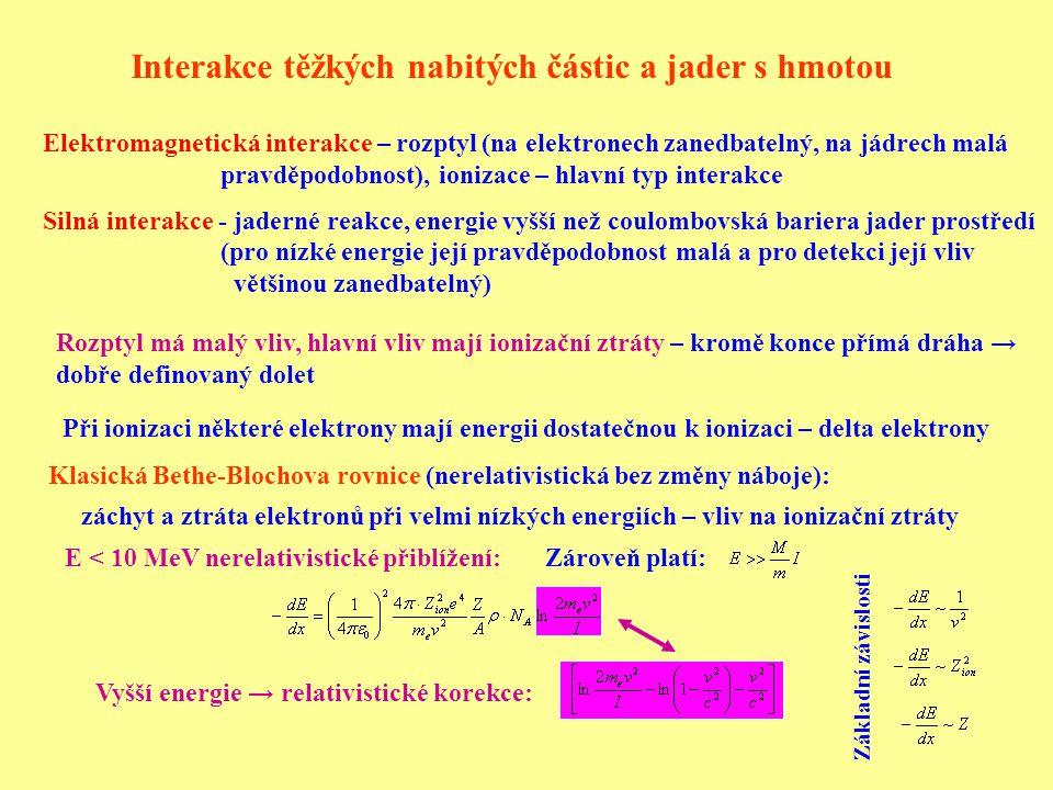 Interakce těžkých nabitých částic a jader s hmotou Elektromagnetická interakce – rozptyl (na elektronech zanedbatelný, na jádrech malá pravděpodobnost), ionizace – hlavní typ interakce Silná interakce - jaderné reakce, energie vyšší než coulombovská bariera jader prostředí (pro nízké energie její pravděpodobnost malá a pro detekci její vliv většinou zanedbatelný) E < 10 MeV nerelativistické přiblížení: záchyt a ztráta elektronů při velmi nízkých energiích – vliv na ionizační ztráty Rozptyl má malý vliv, hlavní vliv mají ionizační ztráty – kromě konce přímá dráha → dobře definovaný dolet Zároveň platí: Klasická Bethe-Blochova rovnice (nerelativistická bez změny náboje): Při ionizaci některé elektrony mají energii dostatečnou k ionizaci – delta elektrony Vyšší energie → relativistické korekce: Základní závislosti