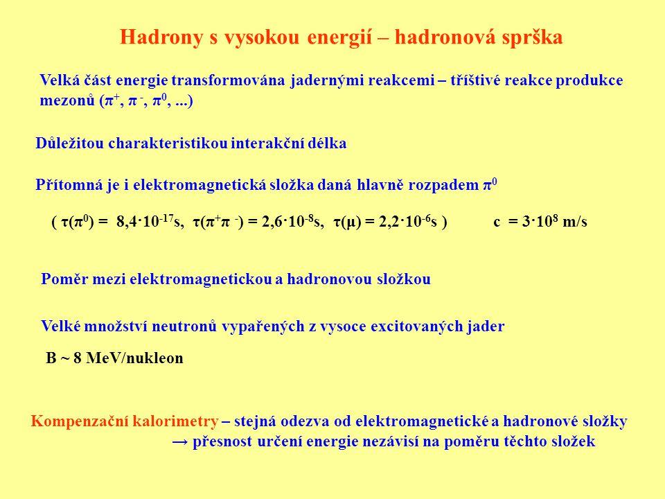 Hadrony s vysokou energií – hadronová sprška Velká část energie transformována jadernými reakcemi – tříštivé reakce produkce mezonů (π +, π -, π 0,...) Přítomná je i elektromagnetická složka daná hlavně rozpadem π 0 Poměr mezi elektromagnetickou a hadronovou složkou Důležitou charakteristikou interakční délka Kompenzační kalorimetry – stejná odezva od elektromagnetické a hadronové složky → přesnost určení energie nezávisí na poměru těchto složek Velké množství neutronů vypařených z vysoce excitovaných jader B ~ 8 MeV/nukleon ( τ(π 0 ) = 8,4·10 -17 s, τ(π + π - ) = 2,6·10 -8 s, τ(μ) = 2,2·10 -6 s ) c = 3·10 8 m/s