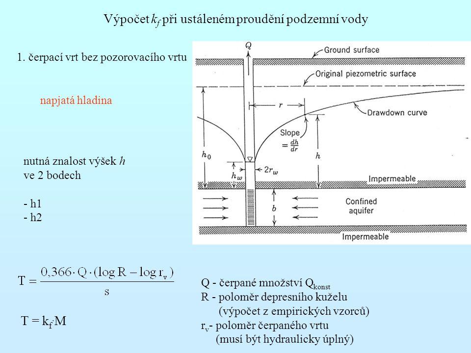 Výpočet k f při ustáleném proudění podzemní vody 1. čerpací vrt bez pozorovacího vrtu napjatá hladina nutná znalost výšek h ve 2 bodech - h1 - h2 T =