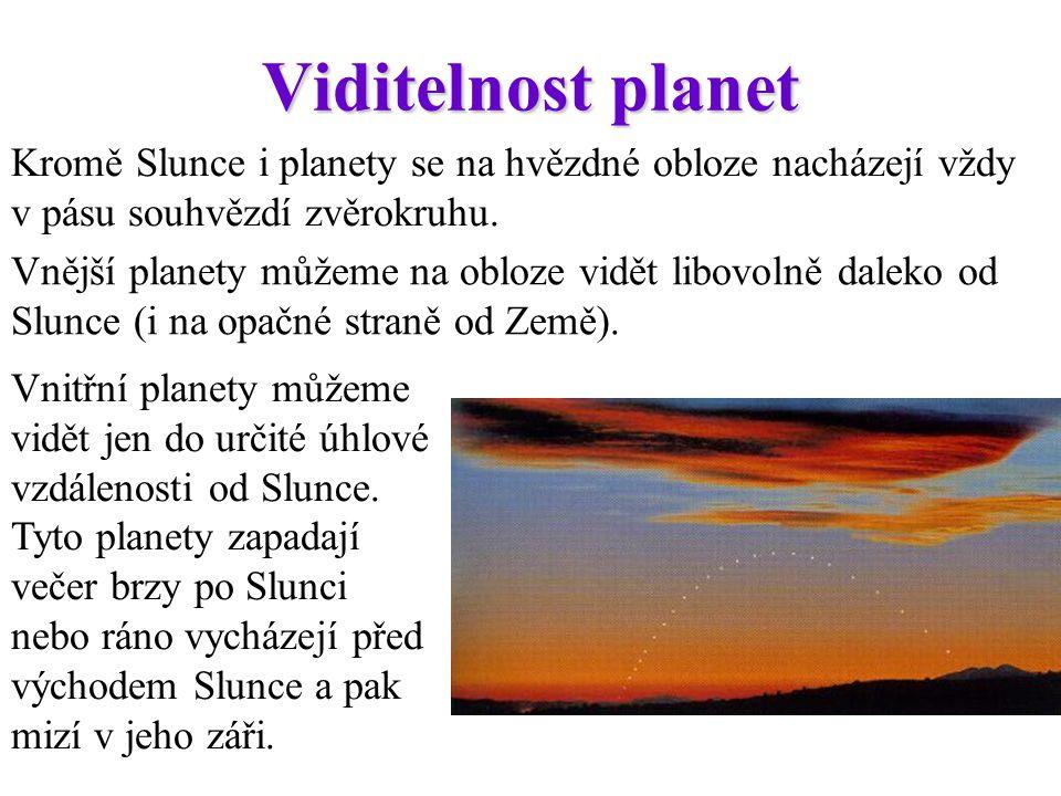 Viditelnost planet Kromě Slunce i planety se na hvězdné obloze nacházejí vždy v pásu souhvězdí zvěrokruhu. Vnější planety můžeme na obloze vidět libov