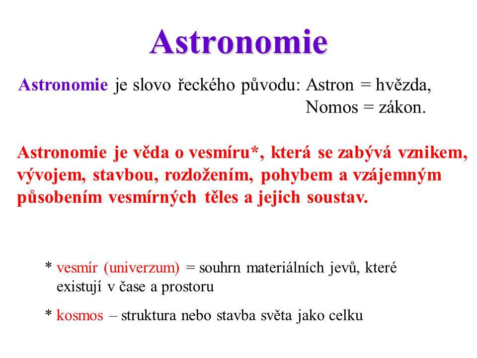Rozdělení astronomie Astrometrie (klasická astronomie) určování přesné polohy vesmírných těles Astrodynamika – zkoumá zákonitosti pohybu kosmických těles Astrofyzika – zkoumá stavbu, fyz.
