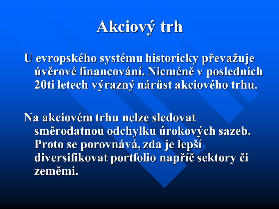 Akciový trh U evropského systému historicky převažuje úvěrové financování. Nicméně v posledních 20ti letech výrazný nárůst akciového trhu. Na akciovém
