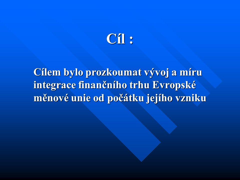Cíl : Cílem bylo prozkoumat vývoj a míru integrace finančního trhu Evropské měnové unie od počátku jejího vzniku