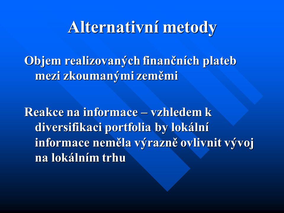 Alternativní metody Objem realizovaných finančních plateb mezi zkoumanými zeměmi Reakce na informace – vzhledem k diversifikaci portfolia by lokální informace neměla výrazně ovlivnit vývoj na lokálním trhu