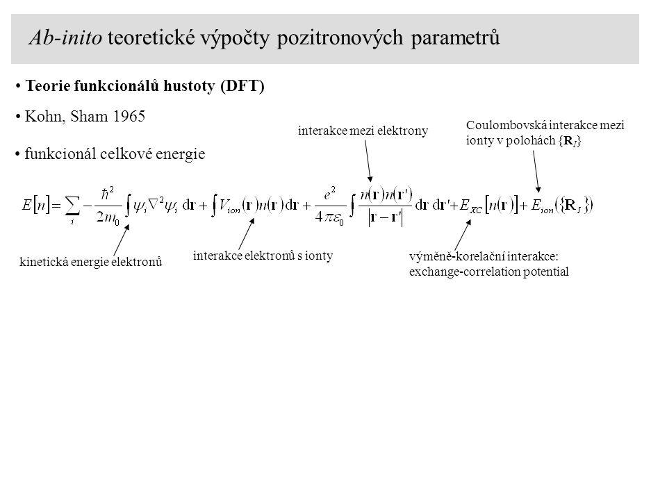 Teorie funkcionálů hustoty (DFT) Kohn, Sham 1965 funkcionál celkové energie Coulombovská interakce mezi ionty v polohách {R I } výměně-korelační inter