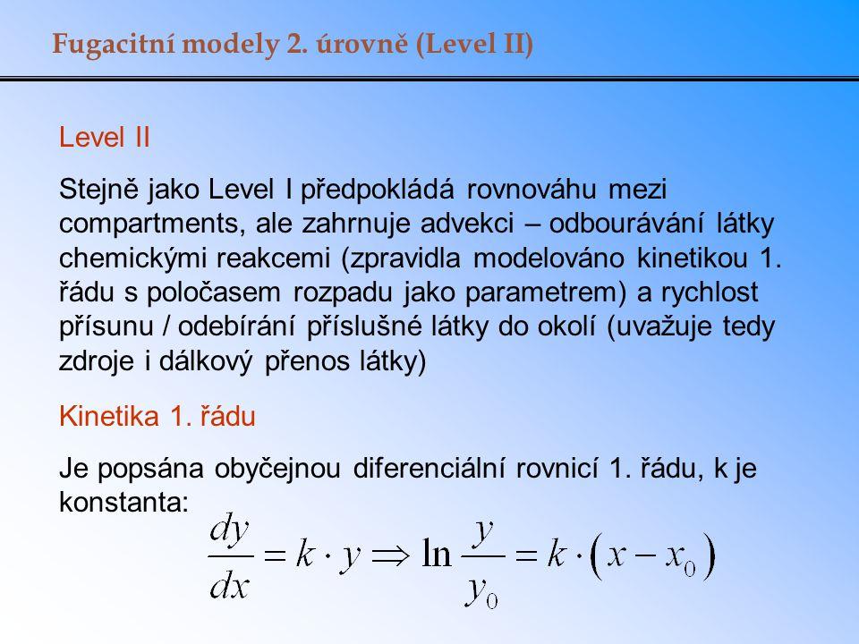 Fugacitní modely 2. úrovně (Level II) Level II Stejně jako Level I předpokládá rovnováhu mezi compartments, ale zahrnuje advekci – odbourávání látky c