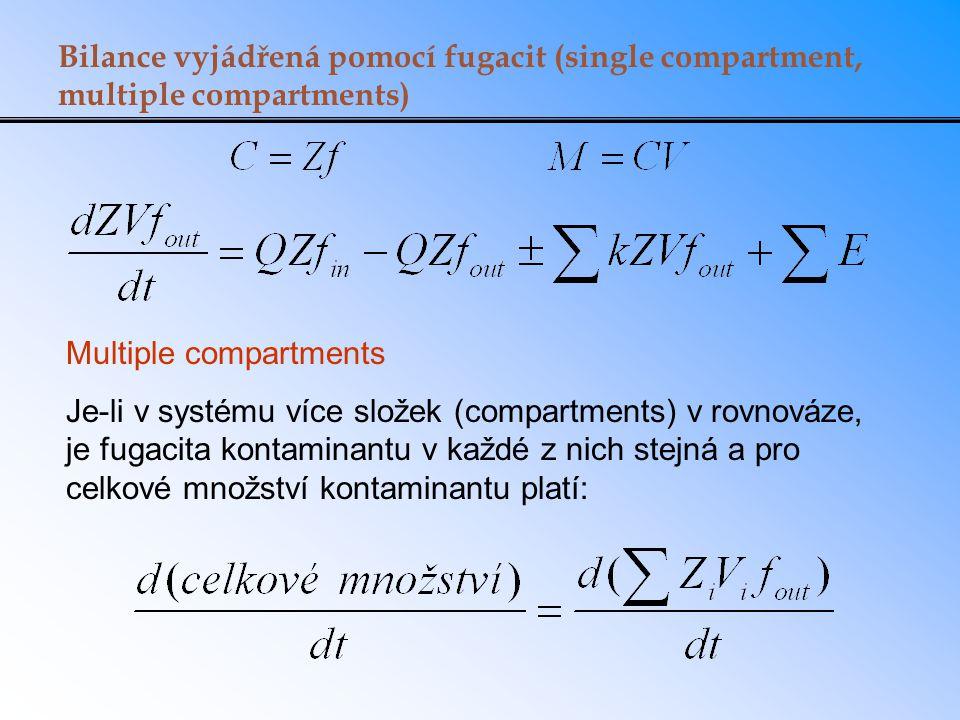 Bilance vyjádřená pomocí fugacit (single compartment, multiple compartments) Multiple compartments Je-li v systému více složek (compartments) v rovnov