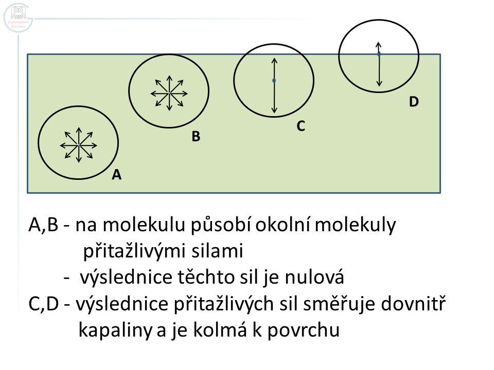A B C D A,B - na molekulu působí okolní molekuly přitažlivými silami - výslednice těchto sil je nulová C,D - výslednice přitažlivých sil směřuje dovni