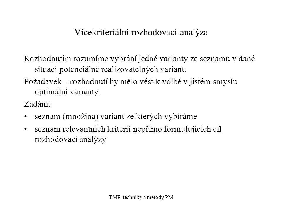 TMP techniky a metody PM Vícekriteriální rozhodovací analýza Rozhodnutím rozumíme vybrání jedné varianty ze seznamu v dané situaci potenciálně realizovatelných variant.