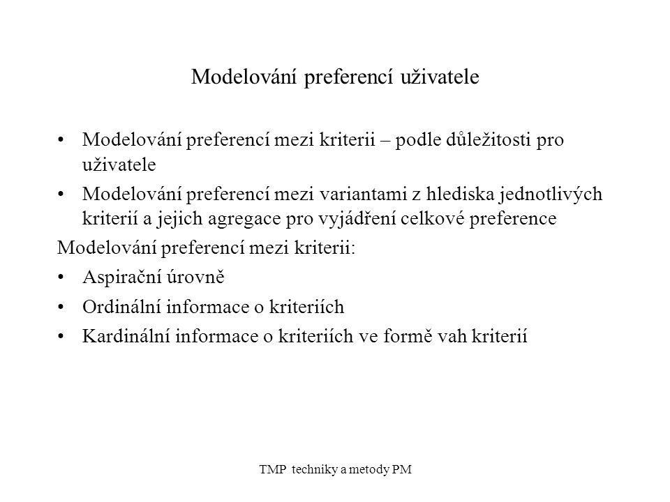 TMP techniky a metody PM Modelování preferencí uživatele Modelování preferencí mezi kriterii – podle důležitosti pro uživatele Modelování preferencí m