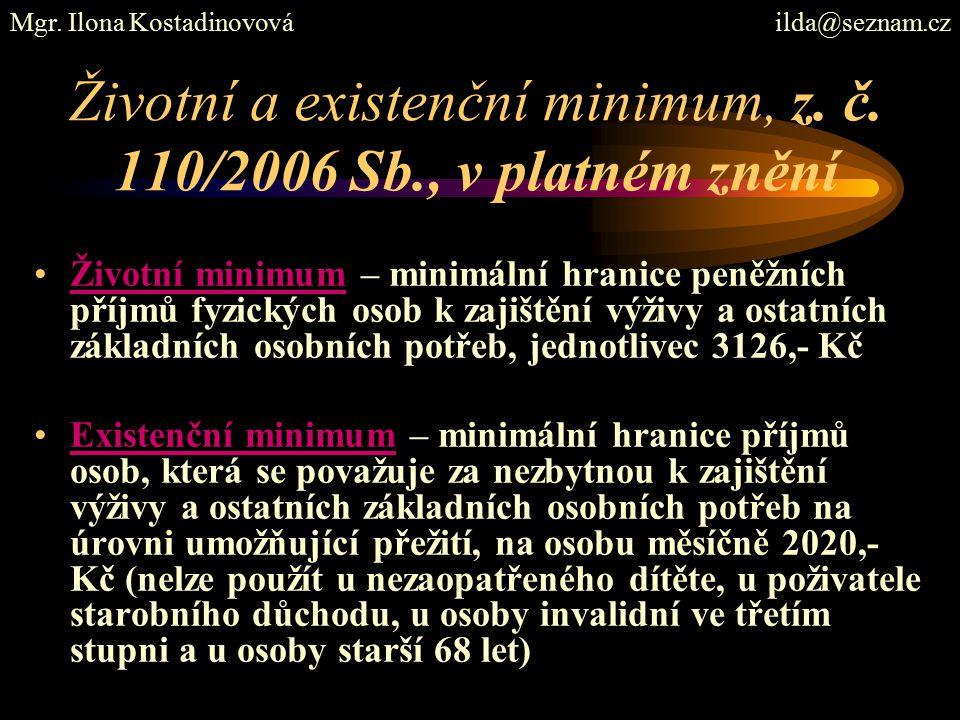 Životní a existenční minimum, z. č.