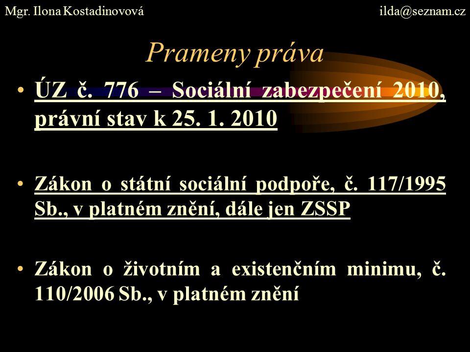 Prameny práva ÚZ č. 776 – Sociální zabezpečení 2010, právní stav k 25.