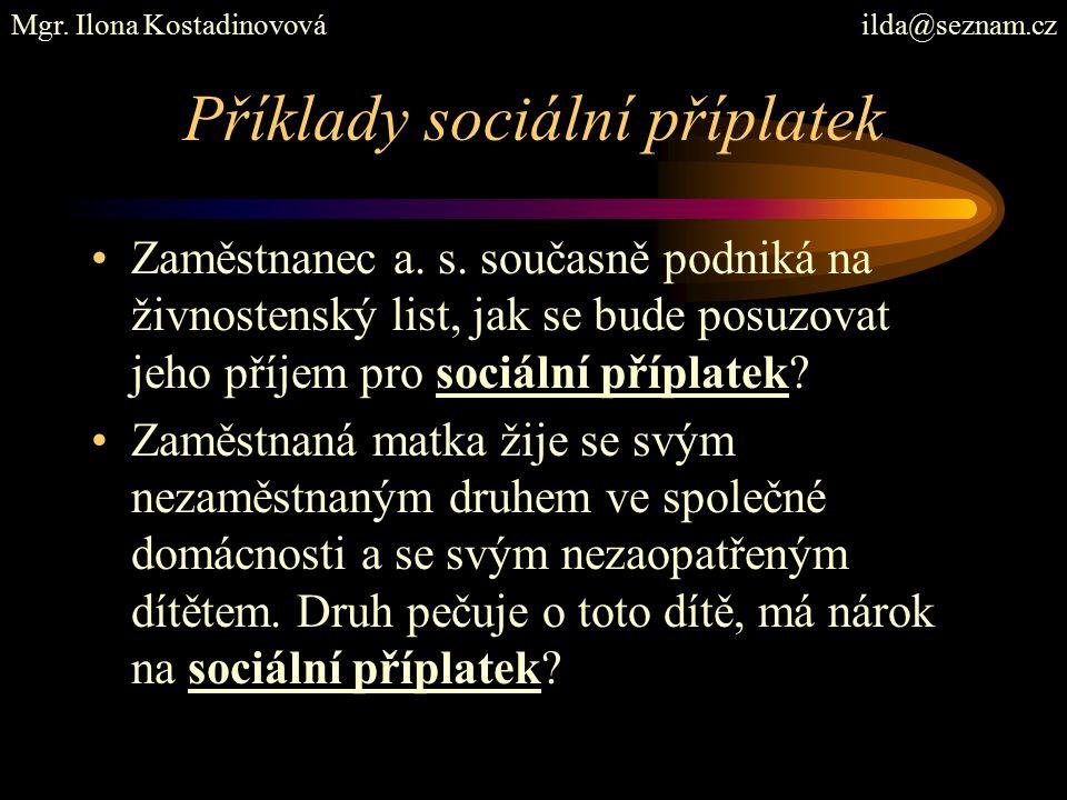 Příklady sociální příplatek Zaměstnanec a. s.