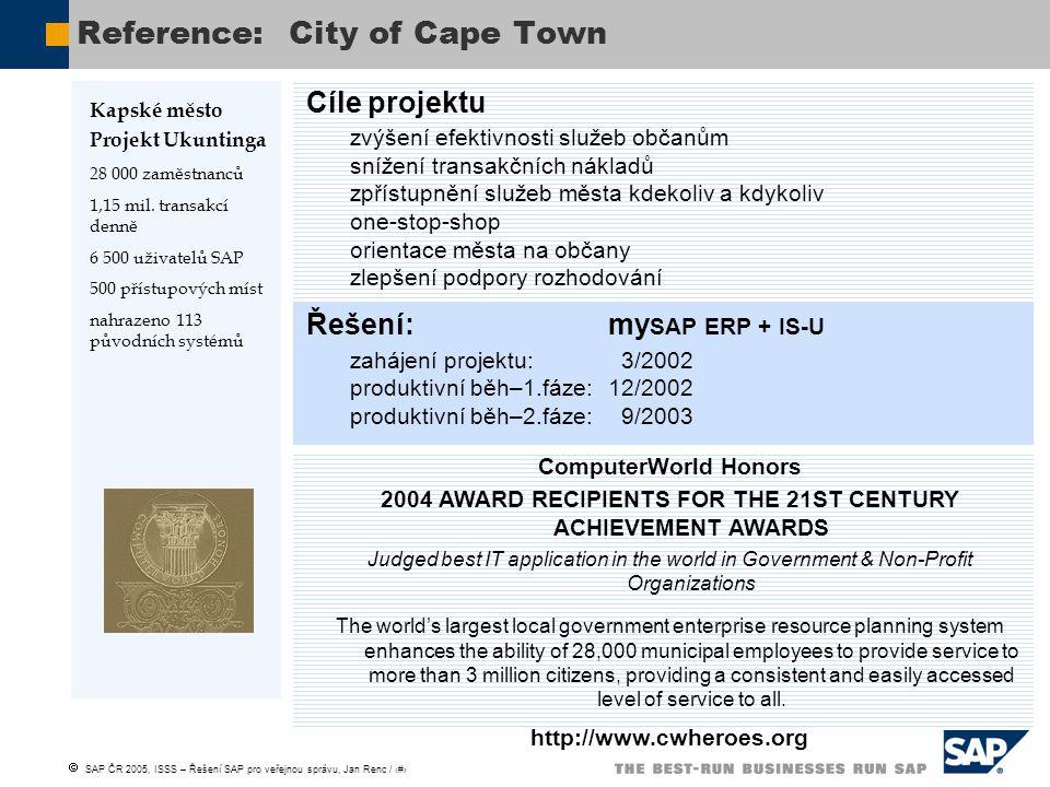  SAP ČR 2005, ISSS – Řešení SAP pro veřejnou správu, Jan Renc / 29 Cíle projektu zvýšení efektivnosti služeb občanům snížení transakčních nákladů zpř