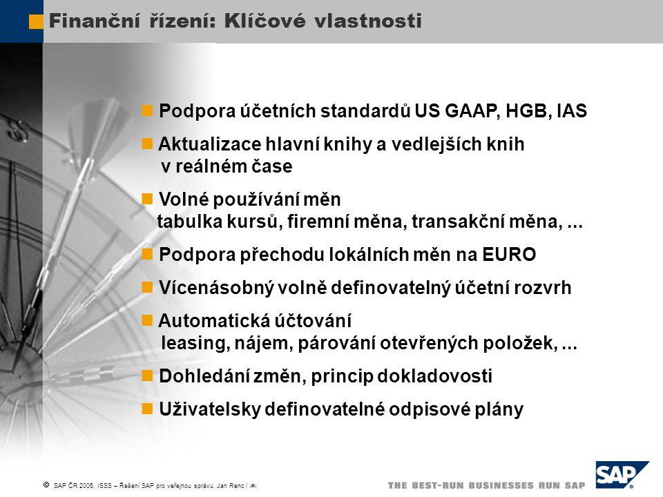  SAP ČR 2005, ISSS – Řešení SAP pro veřejnou správu, Jan Renc / 8 Řízení rozpočtu: Klíčové vlastnosti Kontrola konzistence rozpočtu Paralelní víceúrovňová kontrola disponibility Rezervace prostředků Střednědobý rozpočet Výkonnostní rozpočtování Mimorozpočtové zdroje Přenos obliga a rozpočtu do následujícího roku Kmenová data závislá na roce Statusy – roční kalendář rozpočtových prací Rozšiřitelnost řešení