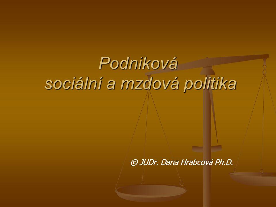 Podniková sociální a mzdová politika © JUDr. Dana Hrabcová Ph.D.