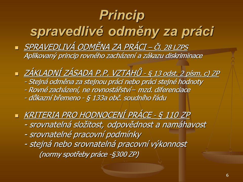 6 Princip spravedlivé odměny za práci SPRAVEDLIVÁ ODMĚNA ZA PRÁCI – Čl.
