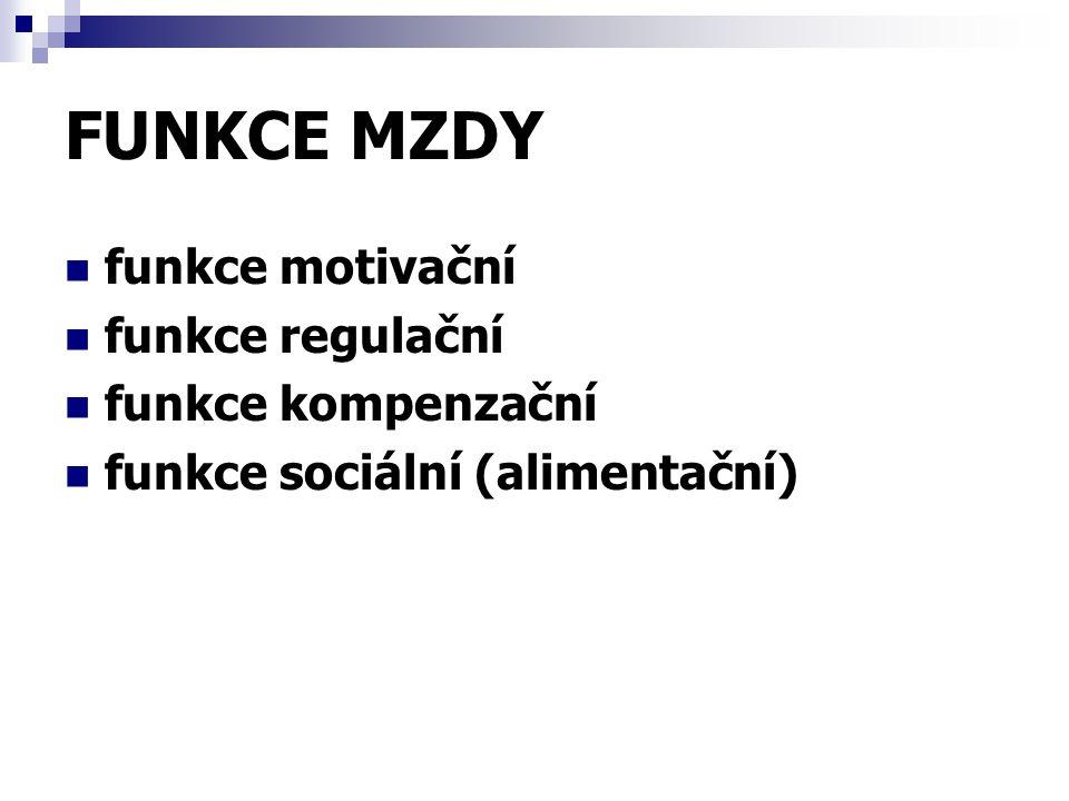FUNKCE MZDY funkce motivační funkce regulační funkce kompenzační funkce sociální (alimentační)