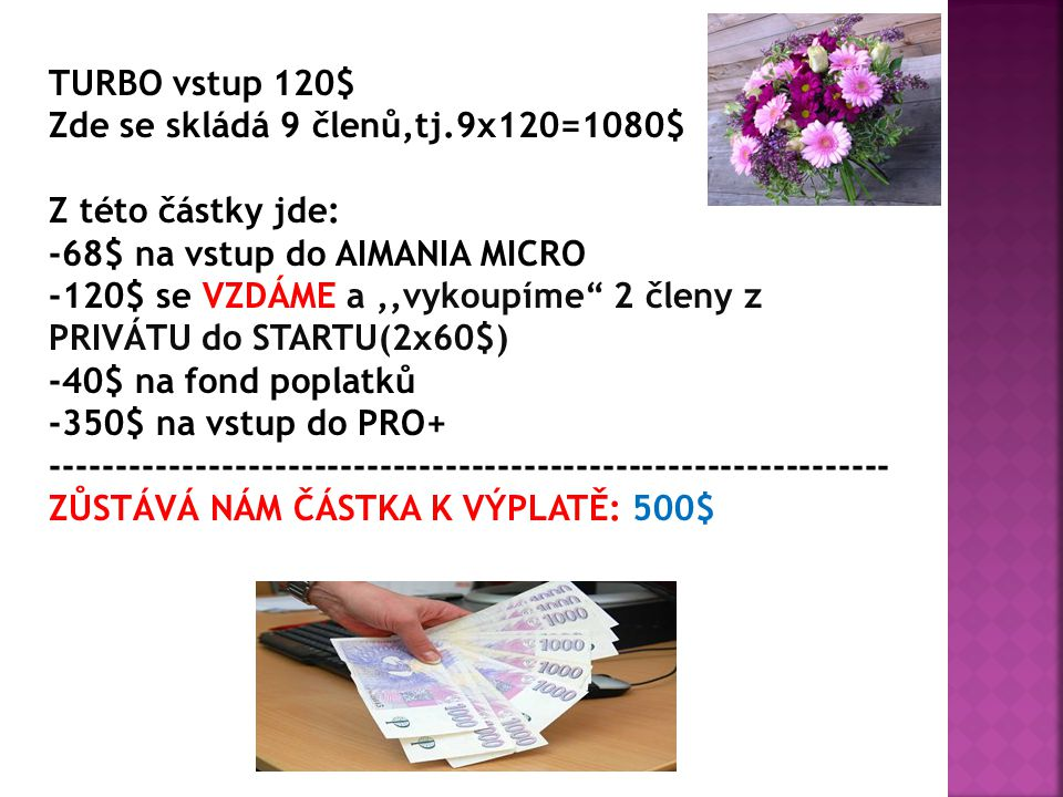 TURBO vstup 120$ Zde se skládá 9 členů,tj.9x120=1080$ Z této částky jde: -68$ na vstup do AIMANIA MICRO -120$ se VZDÁME a,,vykoupíme 2 členy z PRIVÁTU do STARTU(2x60$) -40$ na fond poplatků -350$ na vstup do PRO+ ---------------------------------------------------------------- ZŮSTÁVÁ NÁM ČÁSTKA K VÝPLATĚ: 500$