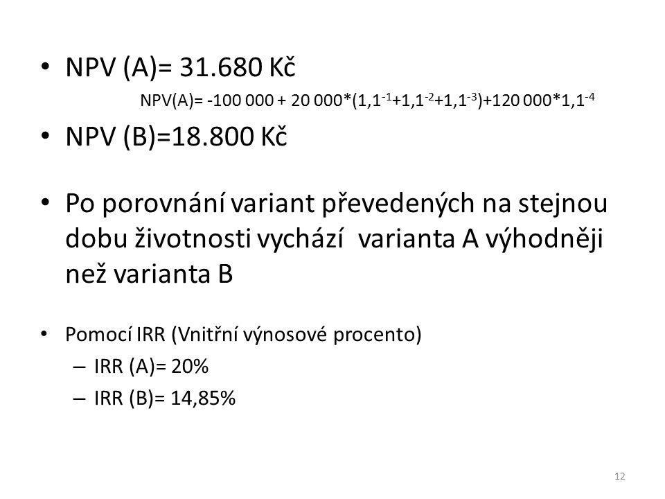 NPV (A)= 31.680 Kč NPV(A)= -100 000 + 20 000*(1,1 -1 +1,1 -2 +1,1 -3 )+120 000*1,1 -4 NPV (B)=18.800 Kč Po porovnání variant převedených na stejnou do