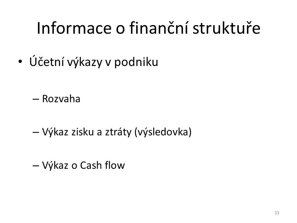 Informace o finanční struktuře Účetní výkazy v podniku – Rozvaha – Výkaz zisku a ztráty (výsledovka) – Výkaz o Cash flow 33