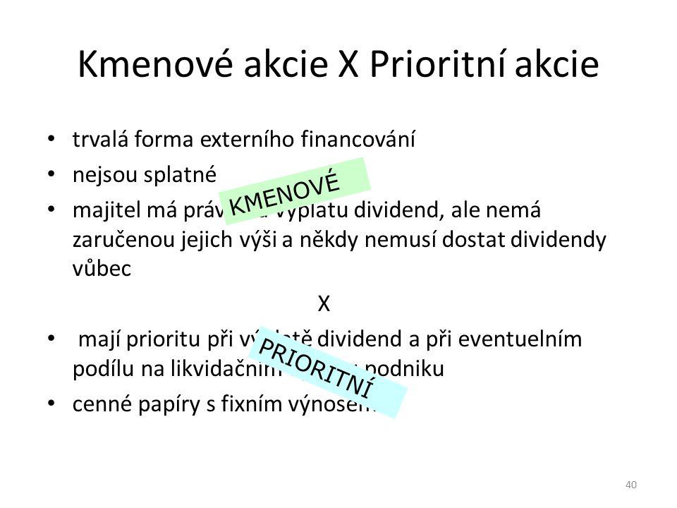 Kmenové akcie X Prioritní akcie trvalá forma externího financování nejsou splatné majitel má právo na výplatu dividend, ale nemá zaručenou jejich výši
