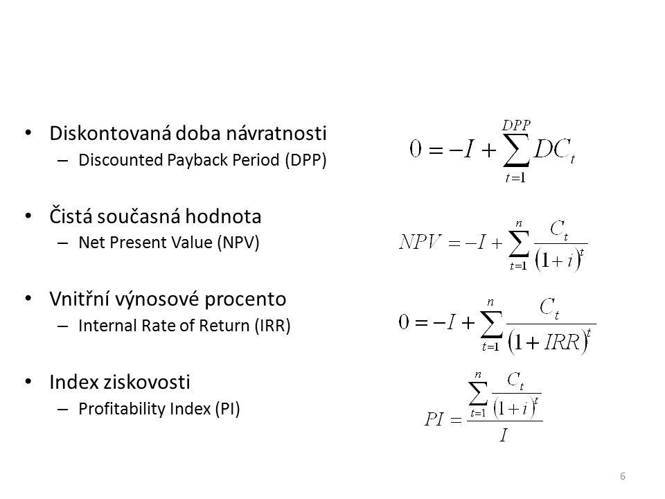 Diskontovaná doba návratnosti – Discounted Payback Period (DPP) Čistá současná hodnota – Net Present Value (NPV) Vnitřní výnosové procento – Internal