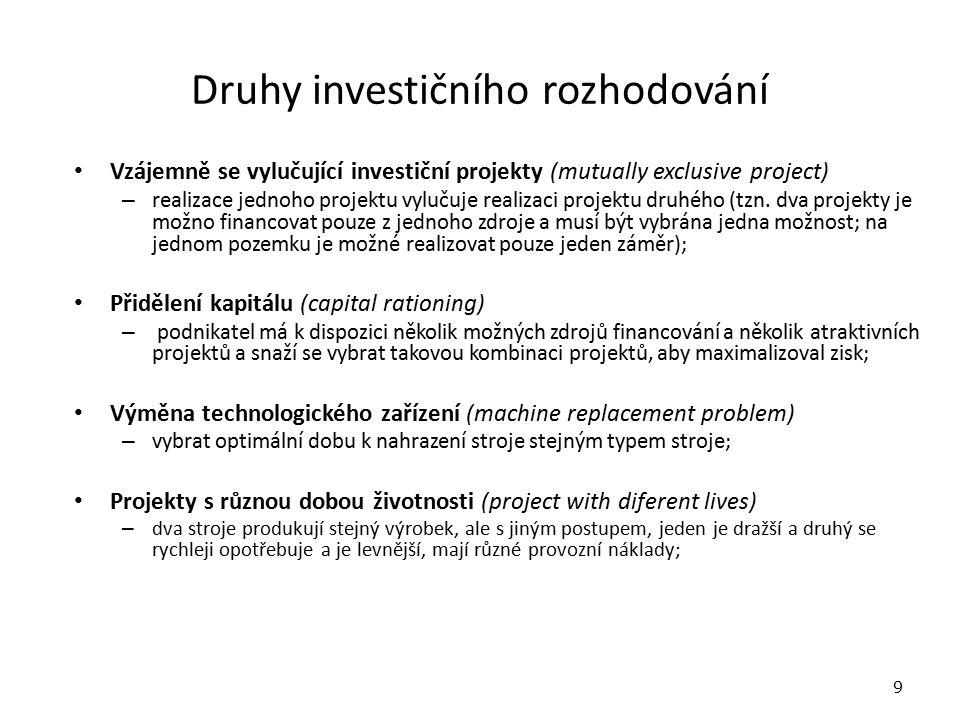 Druhy investičního rozhodování Vzájemně se vylučující investiční projekty (mutually exclusive project) – realizace jednoho projektu vylučuje realizaci