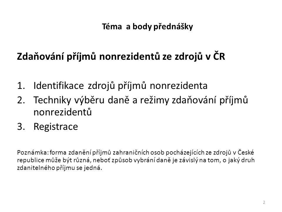 Téma a body přednášky Zdaňování příjmů nonrezidentů ze zdrojů v ČR 1.Identifikace zdrojů příjmů nonrezidenta 2.Techniky výběru daně a režimy zdaňování